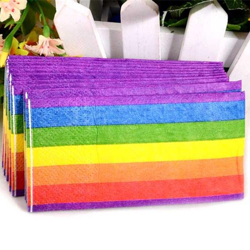 HAOCHU 50 Uds papel de seda de la servilleta de madera virgen arco iris para decoración de fiesta de cumpleaños de chico 3 capas pañuelo de boda proveedor decorativo