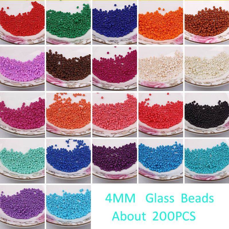 Frete grátis 200 pçs 4mm tcheco sementes espaçador contas contas transparentes contas de vidro murano para fazer jóias diy escolher 18 cores