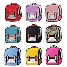 Fashion Women Backpack Creative 2D Drawing Backpacks 3D Jump Style Cartoon School Bag for Girls Traval Rucksack Mochila Mujer