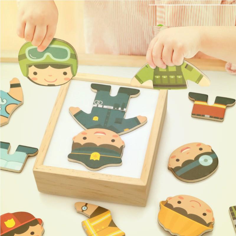 Quebra-cabeça de madeira para crianças, brinquedo educacional que muda de pano para aprendizagem precoce