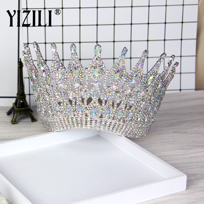 YIZILI-تاج زفاف أوروبي فاخر ، تاج كريستال دائري كبير ، إكسسوارات شعر C021 ، جديد