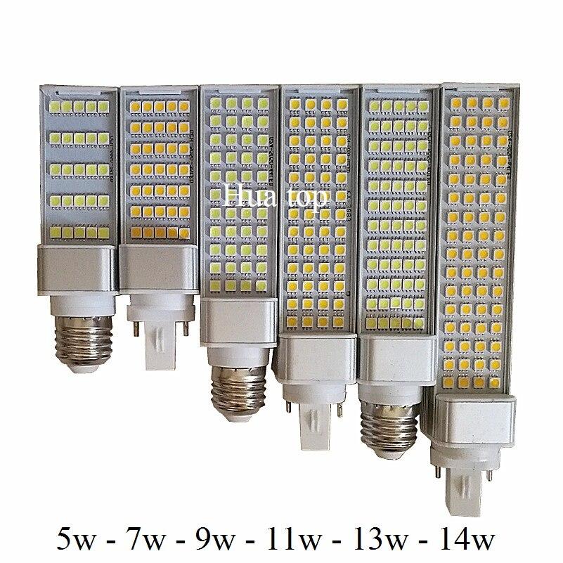 Bombillas LED 5 W 7 W 9 W 11 W 13 W 14 W lámpara E27 G24 G23 220 V /110 V blanco frío blanco cálido foco 180 grados Horizontal Plug Light tune