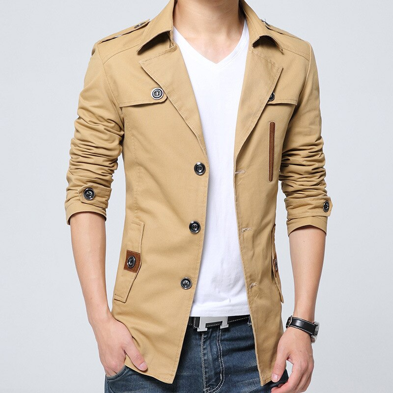 Outono puro algodão trench coat men nova lavagem blusão casaco fino longo casaco turn down collar jaqueta casual azul zoeva