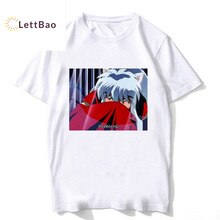 Été 2019 inuyasha anime t-shirt blanc coton col rond graphique t-shirts de base Vintage t-shirt homme vêtements esthétiques ulzzang