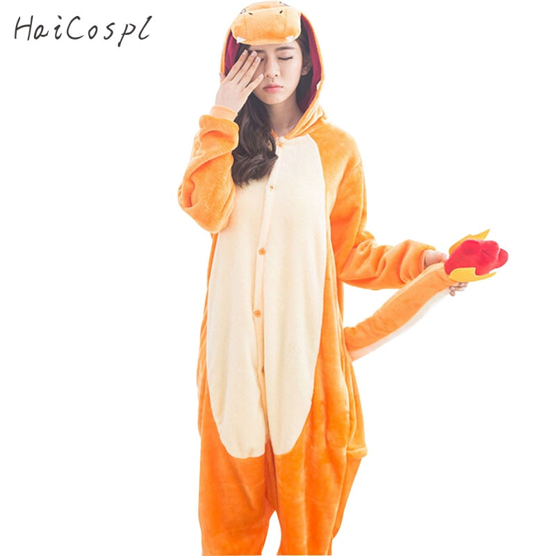 Charmander Kigurumi Pajamas Cosplay Costume Women Adult Cute Animal Onesie Flannel Warm Winter Sleepwear Party Fancy