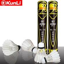 Kunli bádminton shuttleocks KL-15 pluma de pato recta shuttleocks 5 docenas/lote de plumas para entrenamiento envío gratis