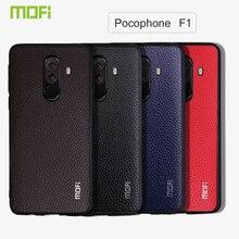 Coque Poco F1 Mofi pour Xiaomi Pocophone F1 coque Mofi pour Xiaomi Pocophonef1 coque arrière en cuir Pu texturé noir rouge