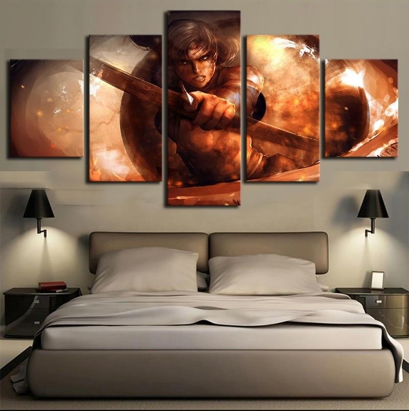 Lienzo pintura arte de pared impresión HD cartel 5 Panel Tomb Raider juego decoración del hogar moderna sala de estar marco de fotos modulares