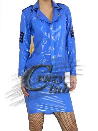100% Pure Nature Handmade Rubber Women Latex Uniform Clothes Fetish Uniform blue army soldier shirt and Latex Fetish Sale