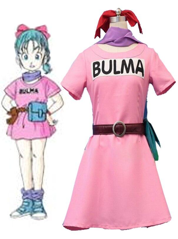 Envío gratis de Dragon Ball Z Cosplay Bulma vestido de fiesta Anime Cosplay traje