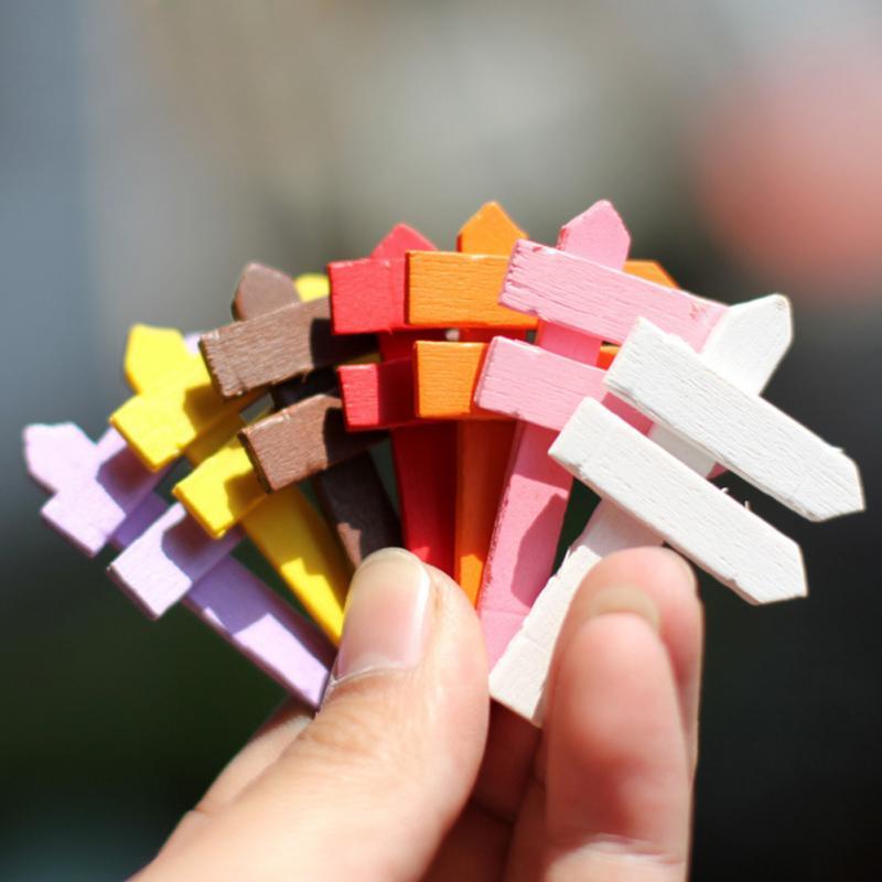 10 قطعة الخشب صغيرة ملونة لافتة طريق الجنية حديقة المنزل منزل الحلي المنمنمات الحرفية المشهد الصغير مصغرة ديكور YH-459959