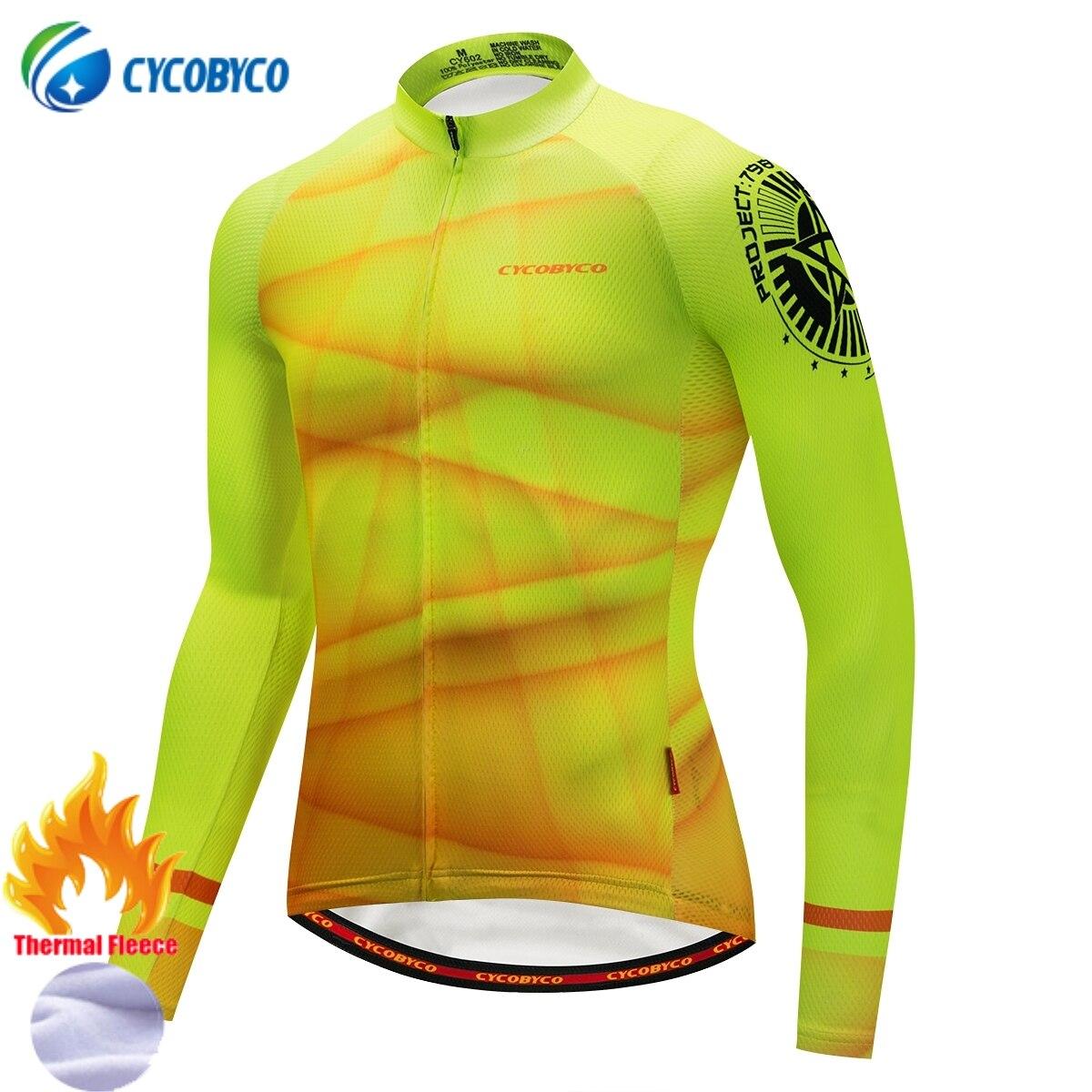 Cycobyco, Jersey de Ciclismo, ropa de Invierno para bicicleta de manga larga, ropa térmica de lana, ropa de Ciclismo para Hombre, ropa para bicicleta MTB