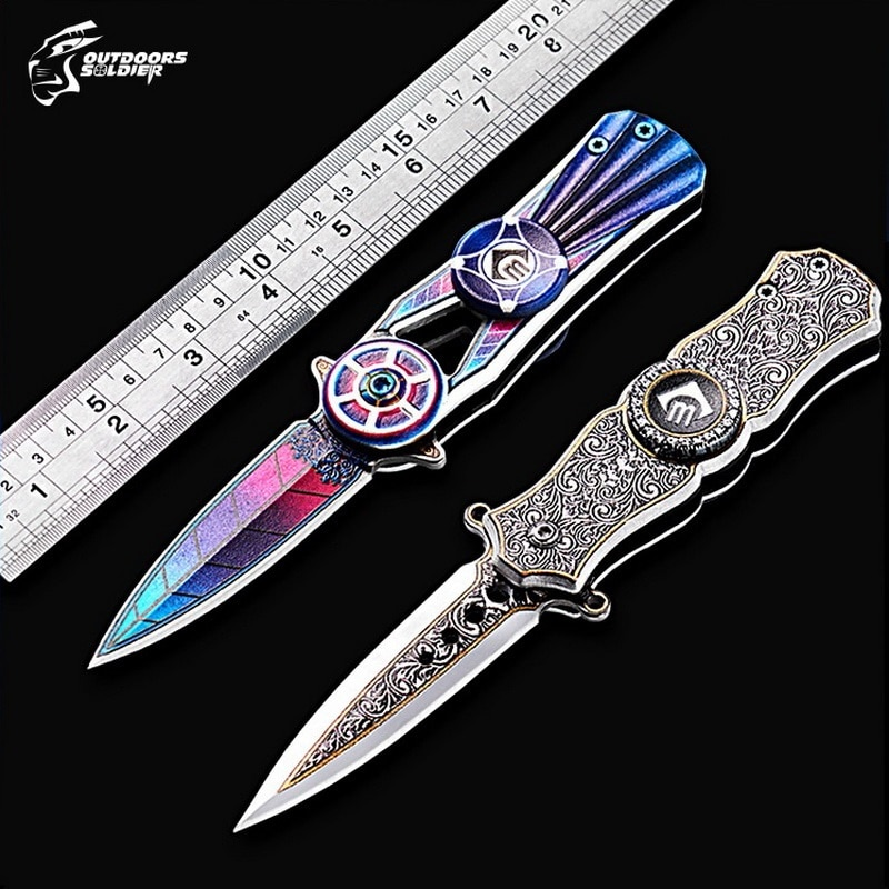 Multifuncional plegable mano Spinner Exterior Herramientas Camping caza supervivencia Seiko alta dureza EDC de giro cuchillo de bolsillo portátil