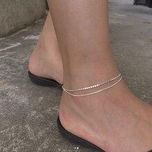 Женские двухслойные ножные браслеты из стерлингового серебра 925 пробы, модные романтичные регулируемые браслеты в форме цепи, летние украш...