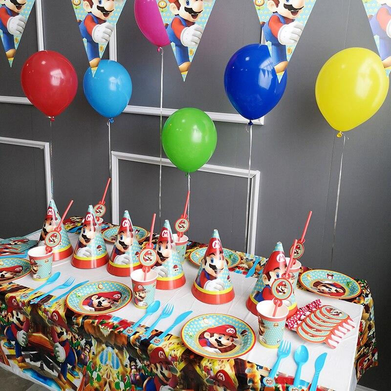 Anime Super Mario Luigi melocotón niños decoración de fiesta de cumpleaños de bebé paquete de suministros para eventos de barra de caramelo