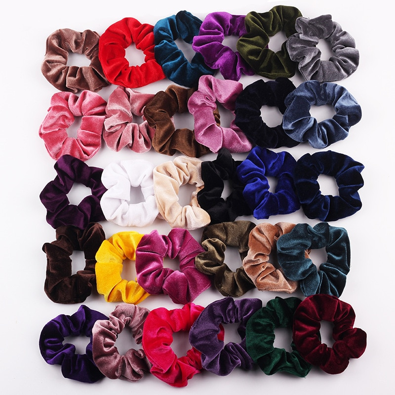 50pcs lot korean fashion girl elastic hair bands tie rope ring rubber ponytail holder colorfully black hair bands for women Velvet Scrunchie Women Girls Elastic Hair Rubber Bands Accessories Gum For Women Tie Hair Ring Rope Ponytail Holder Headdress