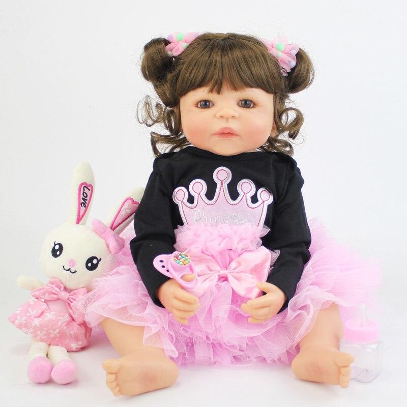 55cm cuerpo completo de silicona Reborn Baby Doll con conejo de juguete de vinilo princesa recién nacida bebés vivos Bebe niña regalo de cumpleaños