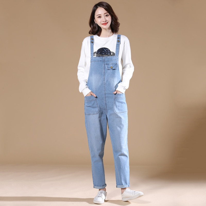 Mori niña babero pantalones de jean gran tamaño 8XL Harem Denim de mujer monos mezclilla tirantes bolsillos de carga pantalones AC32
