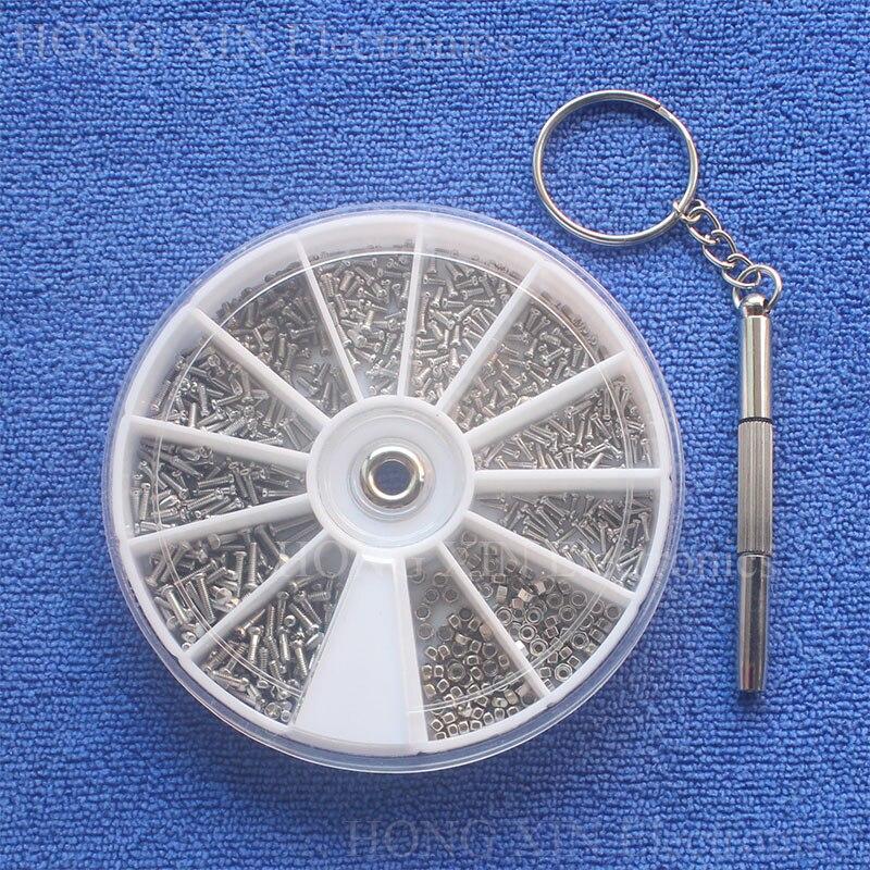 600 unids/set de tornillos de acero inoxidable 12 tipos de tornillos pequeños tuercas surtido Kit destornillador herramienta de reparación para gafas de reloj