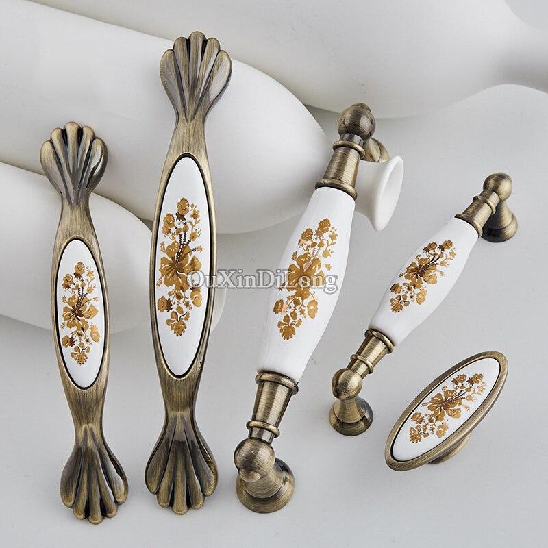 2 piezas europeas Retro de cerámica gabinete de cocina manijas de puerta armario cajón vino gabinete tiradores y perillas de bronce