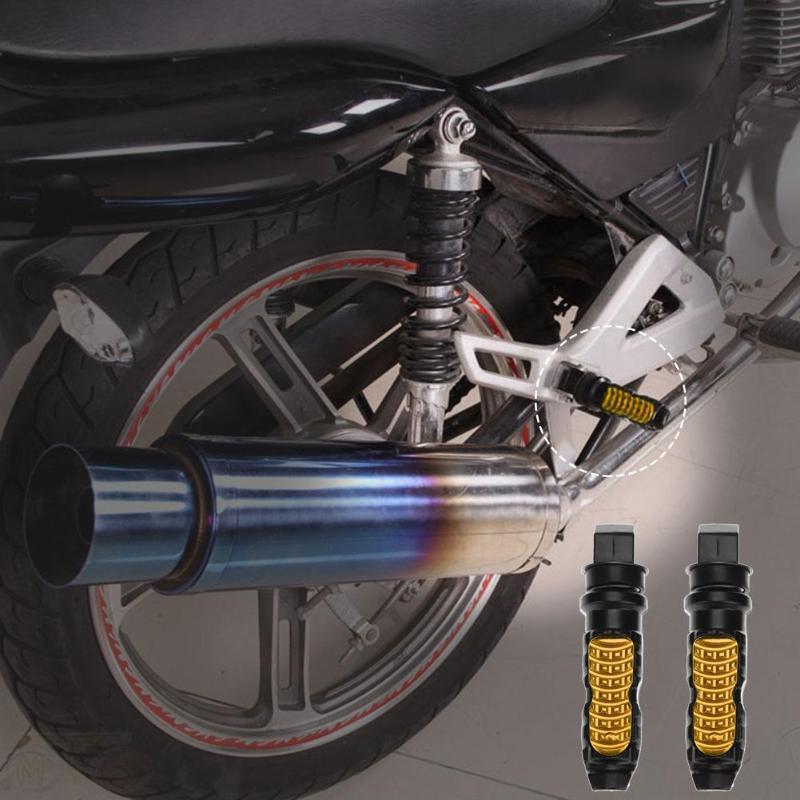 2 uds. Universal de aluminio motocicleta trasera de pasajeros pie clavijas pedales reposapiés Scooter pie-Peg pedal de moto modificación 4 colores