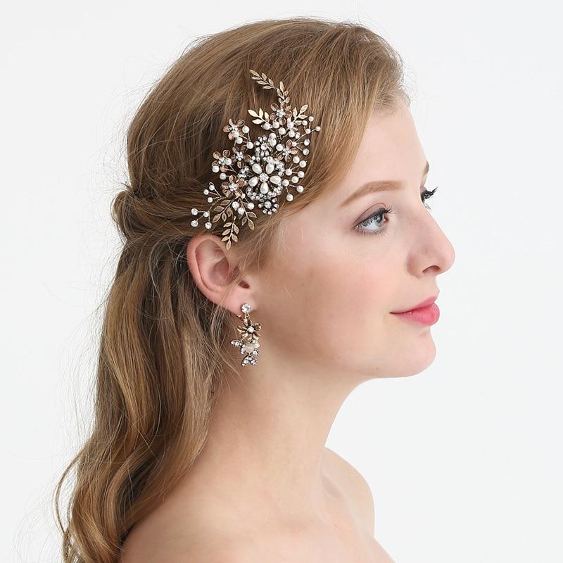 Pinza de pelo perla nupcial dorada antigua tocado de boda para niña peines florales tocado de adorno para fiesta para mujer