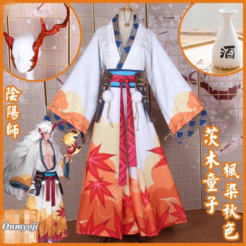 ¡Anime! Onmyoji Ibaraki-duji piel Arce tinte otoño Kimono Unisex Cosplay disfraz Unisex tamaño personalizado 2018 nuevo envío gratis