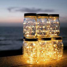2M 20 LED chaîne lumière solaire alimenté pour Mason Jar couvercle Insert couleur changeante jardin imperméable décorations de noël guirlande