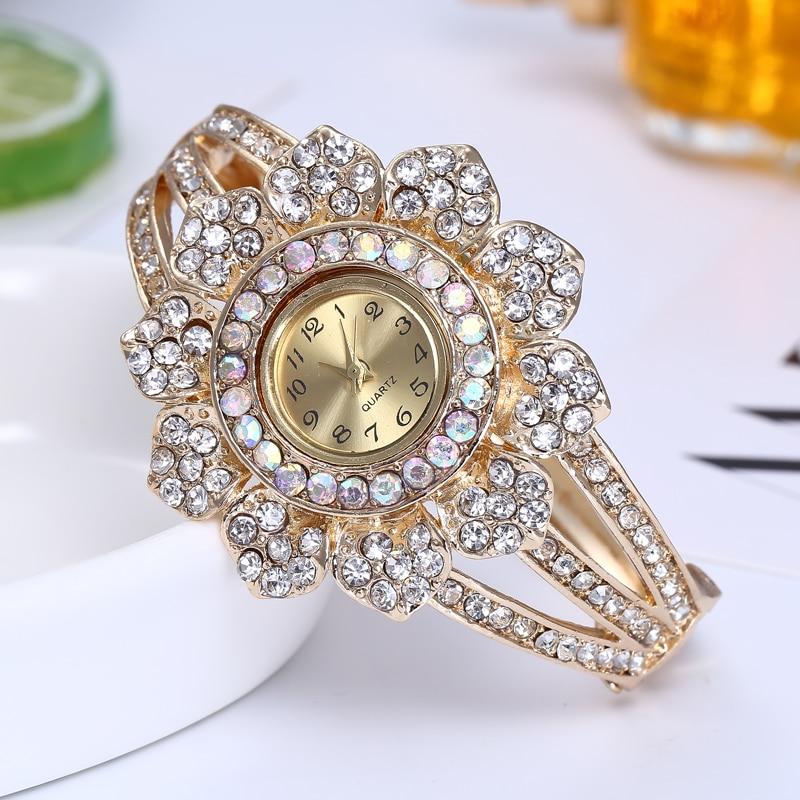 Shsby joyería de oro rosa relojes Casual de cuarzo reloj de pulsera de señora de diamantes de imitación reloj de las mujeres de cristal de lujo vestido reloj de pulsera