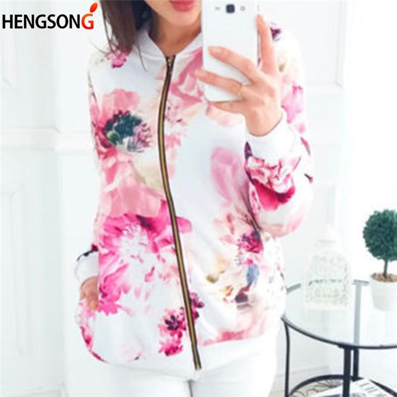 Plus Size Women Autumn Jacket Basic Coat Floral Print Baseball Jacket Bomber Long Sleeve Top Zipper