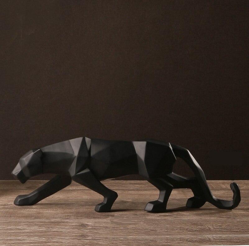 Escultura de Pantera Negra abstracta moderna escultura geométrica de resina de leopardo Estatua de la naturaleza decoración regalo artesanal ornamentos accesorios muebles