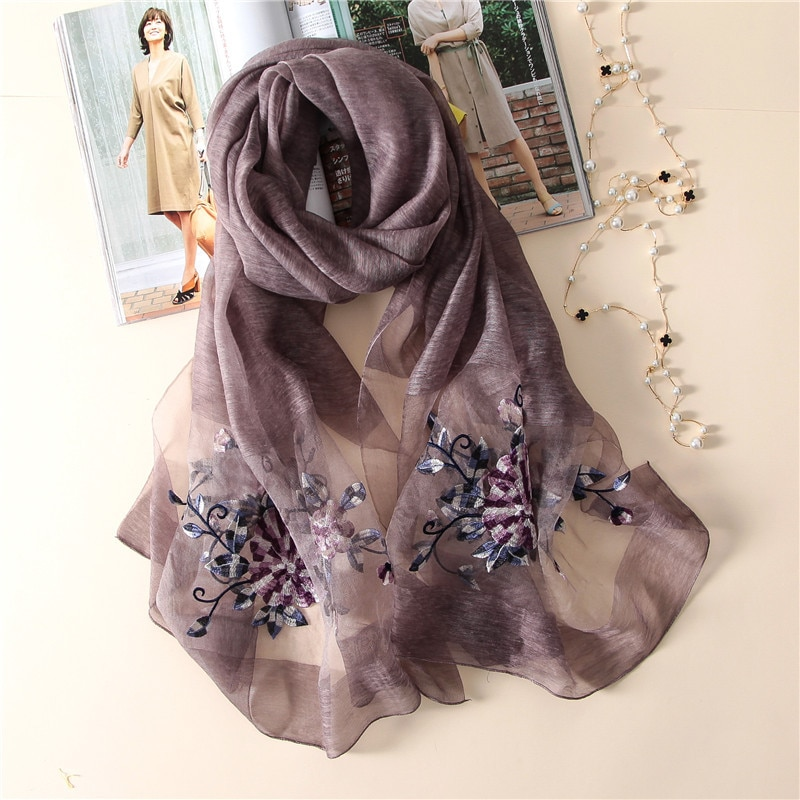 New silk scarf women 2020 fashion Stereoscopic embroidered silk scarves high quality shawl wrap winter neck scarf femme hijab