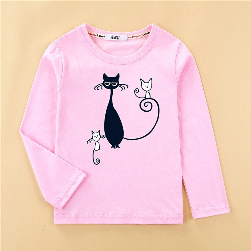 Camisetas impresas diseño de gatito niñas camiseta de moda de manga larga ropa de diseño lindo gato niña tops de algodón completo niño camiseta
