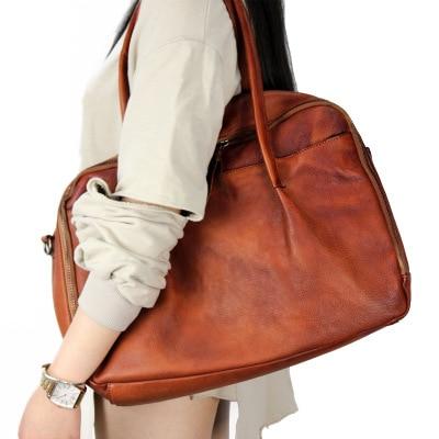 2018 novelty large capacity genuine leather tote handbag for women brown black cowhide luggage bag femal casual traveling bag