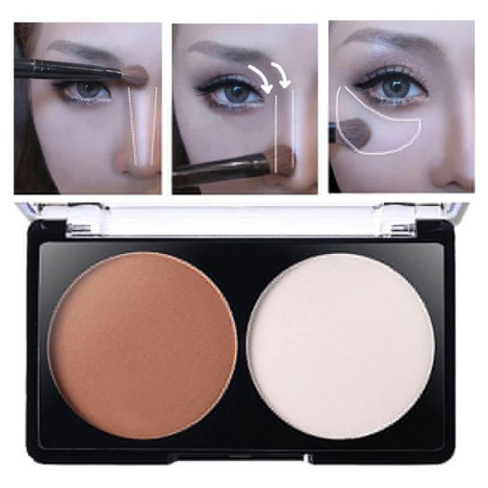 2 cores highlighter pó bronzer corretivo paleta rosto contorno feminino maquiagem clareamento iluminar beleza cosméticos
