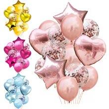 14 teile/los 12inch Latex 18 zoll Multi Konfetti Ballons Geburtstag Party Helium Hochzeit Festival Balon Junge Mädchen Baby Dusche DIY