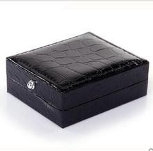 12 шт./лот, черные квадратные коробки для запонок, поверхность из крокодиловой кожи, запонки, держатель для хранения, коробка для мужских ювелирных изделий, упаковка, подарочная коробка