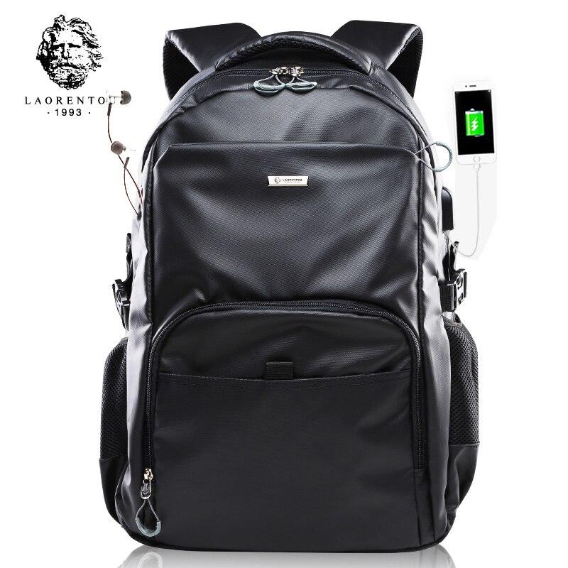 LAORENTOU العلامة التجارية الرجال على ظهره حقيبة كمبيوتر محمول للرجال موضة أكسفورد حقيبة سعة كبيرة حقيبة مدرسية العصرية الذكور حقيبة الظهر