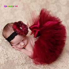 Ksummeree-Tutu princesse canneberge avec bandeau Vintage   Accessoire de photographie pour nouveau-né, jupe Tutu de noël, cadeau pour réception-cadeaux pour nouveau-né TS078