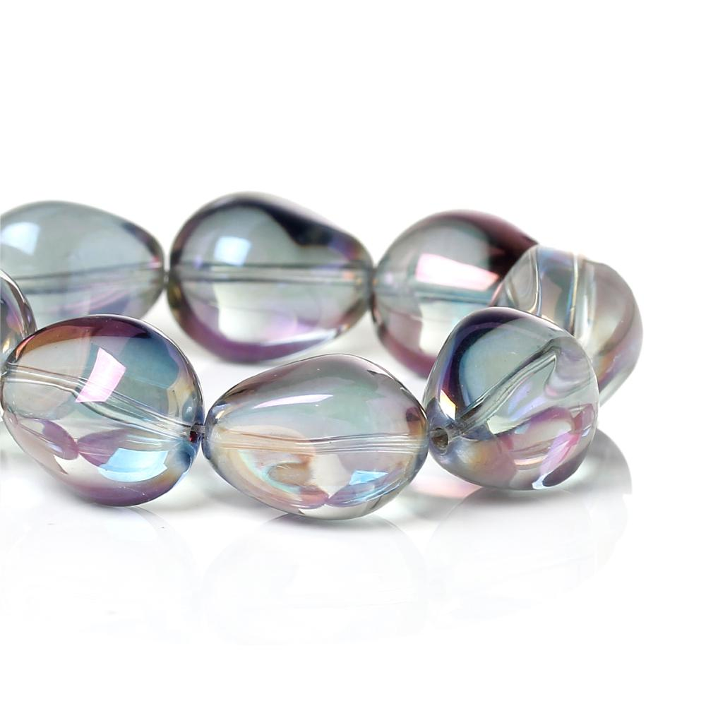 DoreenBeads, cuentas de vidrio sueltas, Color lágrima AB púrpura facetado sobre 17,0mm x 14,0mm, agujero sobre 1,3mm,10 Uds