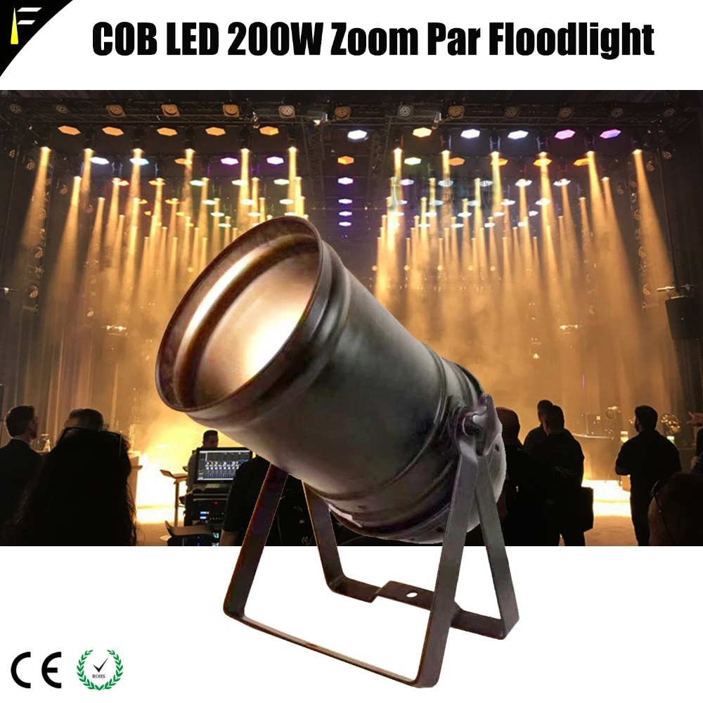 مصباح كشاف PAR56 LED COB ، 200 واط ، زووم ، لون ذهبي ، أبيض دافئ ، 200 واط ، 5CHS ، DMX512 مع مبيت تقليدي