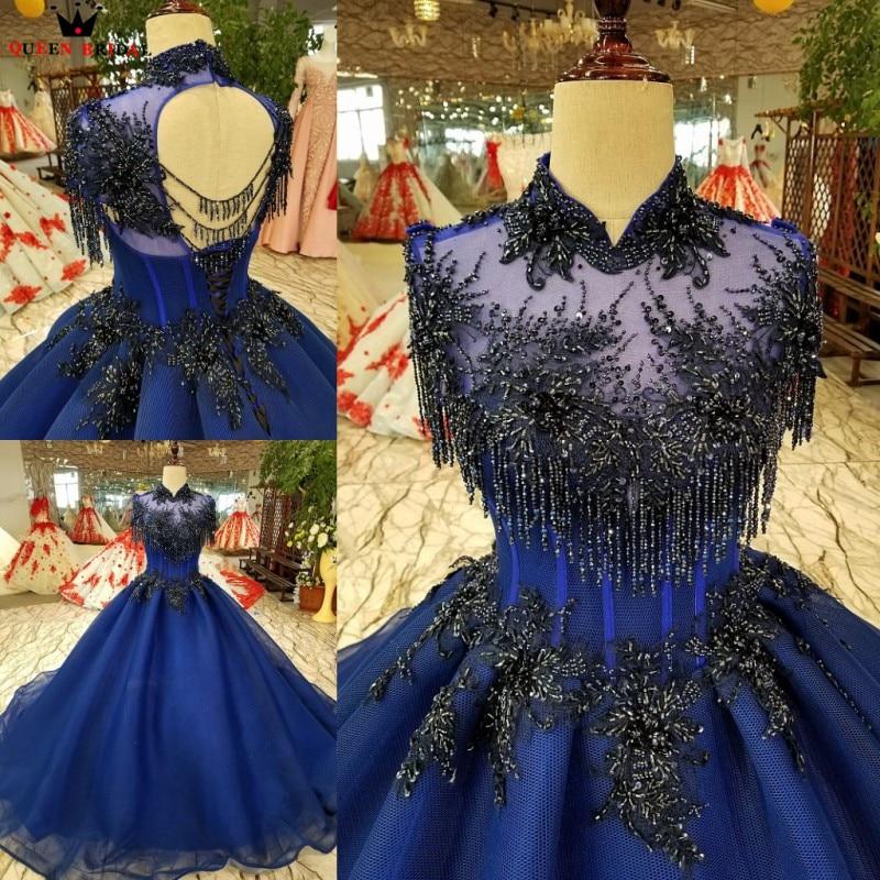 Ball Gown Fluffy Satin Beading Crystal Long Luxury Dark Blue  Evening Dresses 100% Real Evening Gown 2020 Vestido De Festa KC78