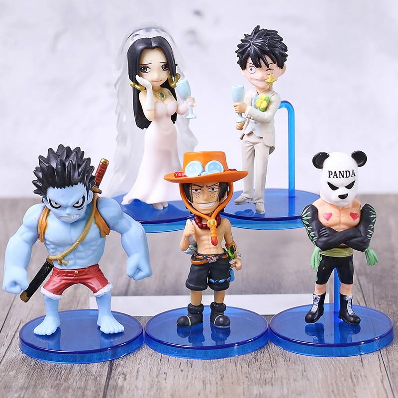 Anime 5 piezas una pieza Luffy pesadilla Ace vestido de boda Boa Hancock Panda hombre WCF PVC figura de acción modelo de colección juguetes De La muñeca