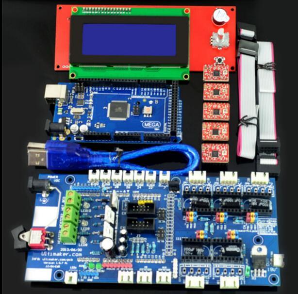 DuoWeiSi أجزاء طابعة ثلاثية الأبعاد ل RAMPS 1.57 لوحة تحكم + LCD 2004 مجلس ميجا 2560 R3 A4988 سائق عدة للطابعة ثلاثية الأبعاد