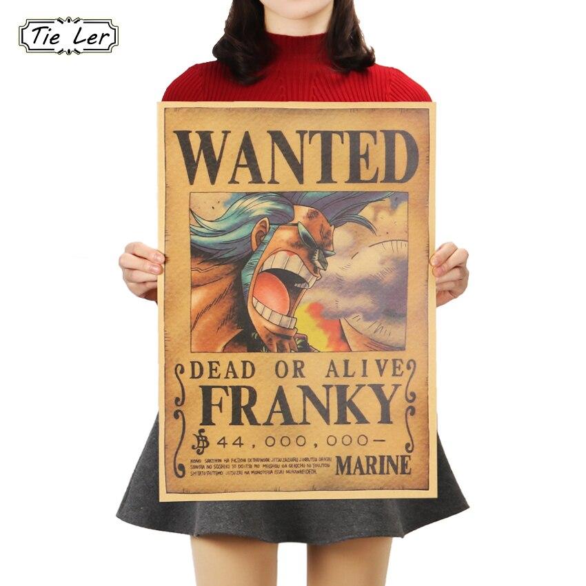 AMARRAR LER One Piece Franky Filme Dos Desenhos Animados Cartaz Quadrinhos de Papel Kraft Clássico Bares Café Retro Pintura Decorativa Adesivo 51x36cm