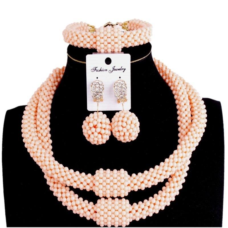 Feine Schmuck Sets Party Licht Orange 2 Schichten Mode Schmuck Erklärung Halskette Frauen Kristall Afrikanische perlen Schmuck Sets 2018