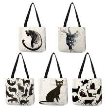 Sacs fourre-tout personnalisés dimpression dart de chat daquarelle pour le sac à provisions de lin pliant les sacs à main réutilisables de tissu pour des femmes