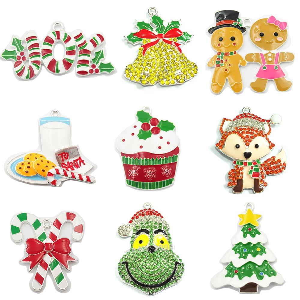 10pcs/bag  Christmas Series 1: Crutch,Deer,Gingerbread,Cupcake,Fox,Bell,Santa,Snowman/Gloves  Pendant ( Choose Design First )