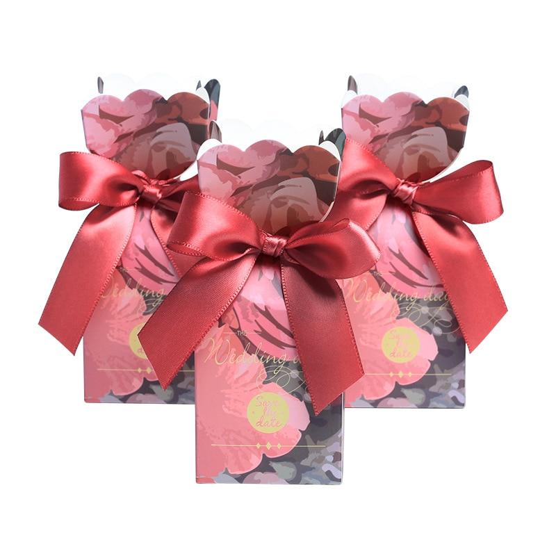 Новый красный цветок рыбий хвост свадебный день конфеты коробки Подарочная коробка для свадебного украшения подарки сумка Гость партия по...