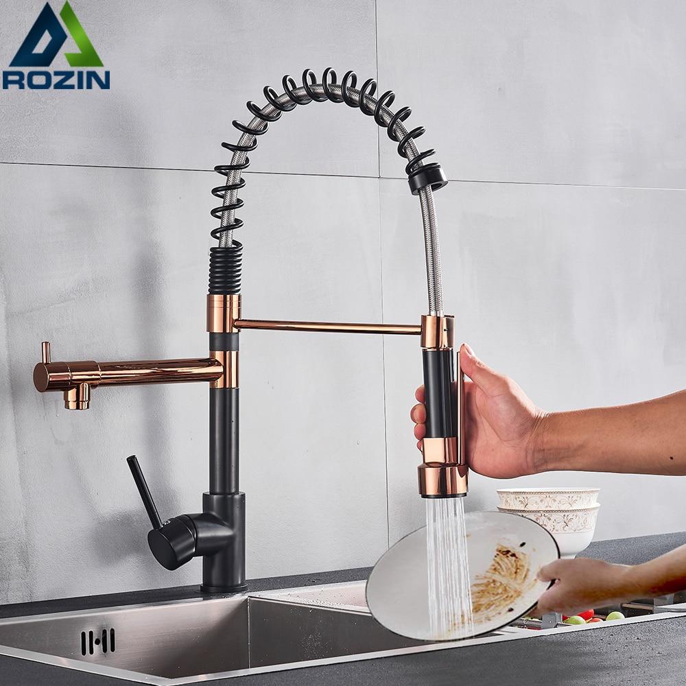 Кухонный смеситель для раковины Rozin, черный и розовый, золотой, с двойным носиком, для горячей и холодной воды